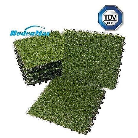 BodenMax® - Césped artificial clic, baldosas, juego de 30 x 30 cm, baldosas para terraza, césped, placa para terraza: Amazon.es: Jardín