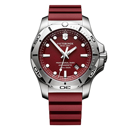 Victorinox Swiss Army Men's 'I.N.O.X Quartz Stainless Steel and Rubber Diving Watch, Color:red (Model: 241736.1)