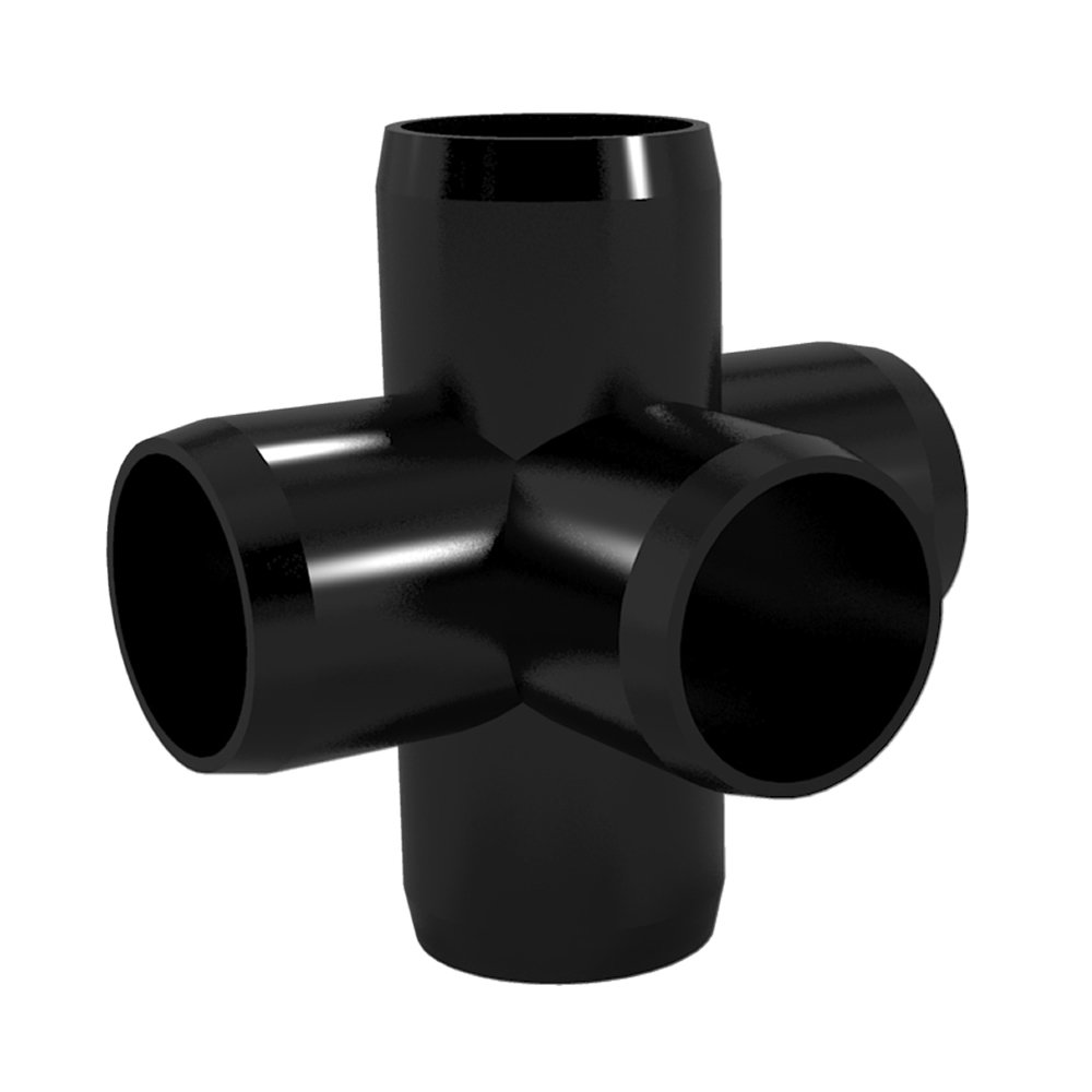 FORMUFIT F0015WC-BK-4 5-Way Cross PVC Fitting, Furniture Grade, 1'' Size, Black (Pack of 4) by FORMUFIT (Image #4)