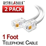 (2 Pack) 12 Inches Short Telephone Cable Rj11 Male
