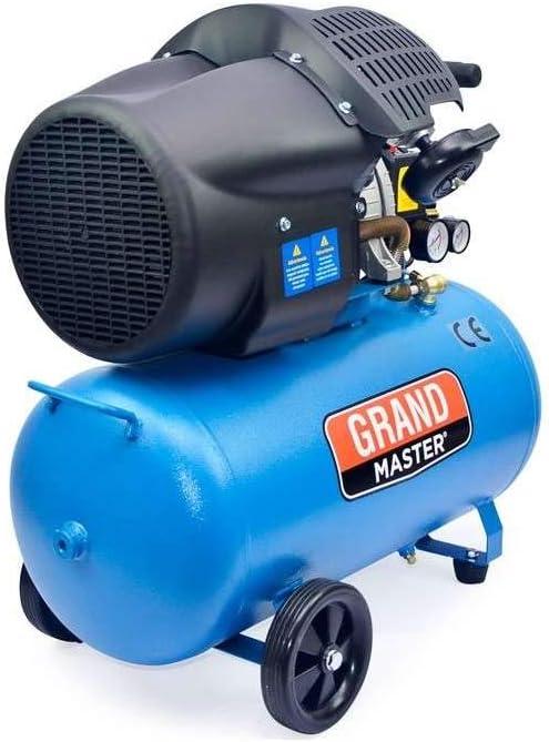 Grandmaster - Compresor de Aire 100 Litros 220V, Dos Cilindros 356L/min, 2200W/3cv, 8 Bares/116psi, Filtro de Aire, Velocidad 2850/min, Compresor Silencioso
