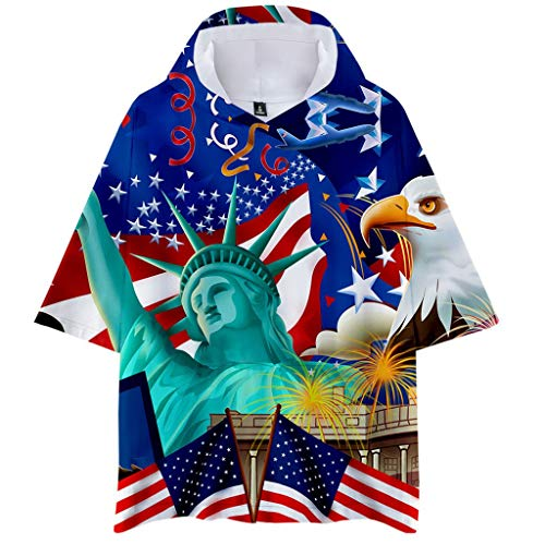 (YOCheerful Men's Tops Printed Hooded Short Sleeve Casual Hoodies Large Size Tops 4th of July Loose Tops (Blue, 3XL))