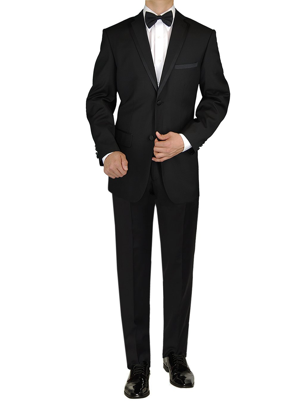 GN GIORGIO NAPOLI Mens Tuxedo Suit Two Button Jacket Flat Front Adjustable Pants (46 Long US / 56L EU/W 40'', Black) by GN GIORGIO NAPOLI