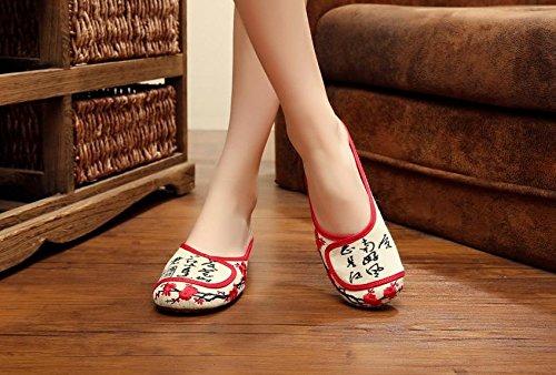 &QQ Zapatos bordados, lenguado de tendón, estilo étnico, flip flop femenino, moda, cómodo, sandalias beige