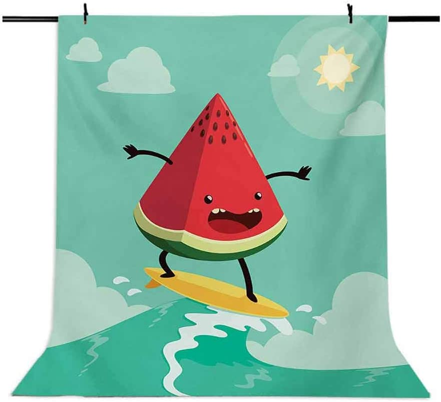 Surf 6.5x10 FT Photo Backdrops,Cute Watermelon Riding The Waves Surfing in The Ocean Popular Summer Activity Background for Photography Kids Adult Photo Booth Video Shoot Vinyl Studio Props