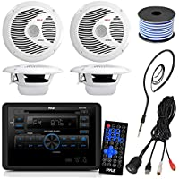 Pyle PLRVST300 RV Wall Mount Bluetooth CD/DVD Receiver Bundle Combo With 4x 6-1/2 Dual Cone Waterproof Stereo Speaker + Enrock Radio Antenna + USB/AUX To RCA Cable +18G 50-FT Wire
