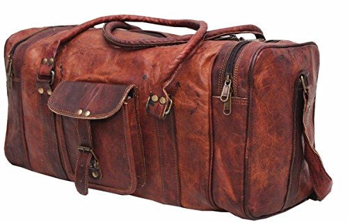 Pranjals House Leather 24 Inch Duffel Travel Gym Sports Overnight Weekend Leather Bag