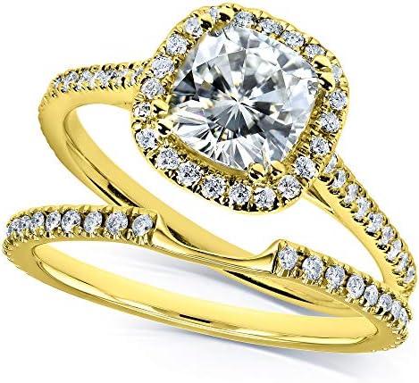 Kobelli Moissanite and Lab Grown Diamond Halo Bridal Rings Set 1 1/2 CTW in 14k Yellow Gold (HI/VS, DEF/VS)