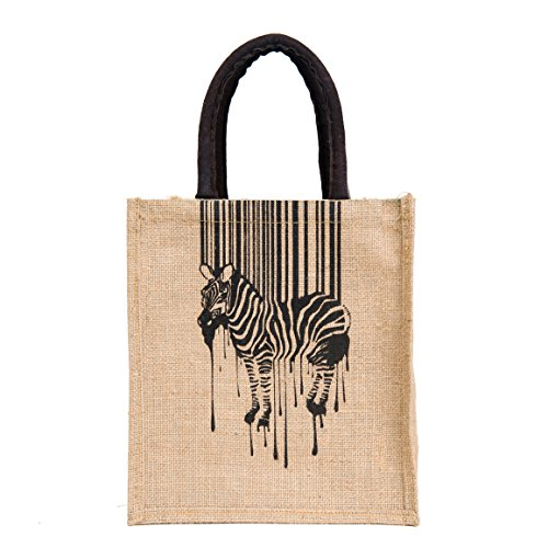 H B Multipurpose Waterproof Jute Lunch Bags For Unisex  Print: Zebra, Black, Size: 11X9X6 Inch