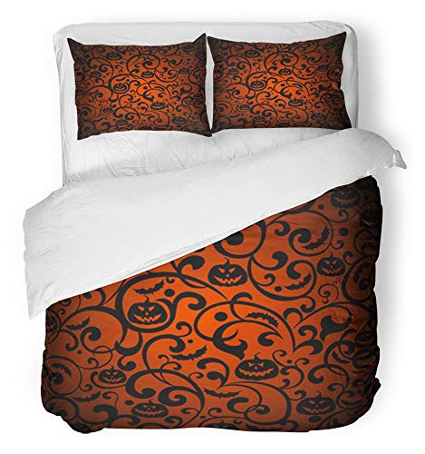 Emvency 3 Piece Duvet Cover Set Breathable Brushed Microfiber Fabric Orange Vintage Halloween Silhouette Bat Black Autumn Branch Cartoon Dark Bedding Set with 2 Pillow Covers King Size