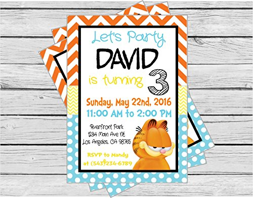 Garfield Inspired Happy Birthday Invitation - Orange and Yellow Chevron, Baby Blue Polka Dots & Black Accents - Party Packs Available