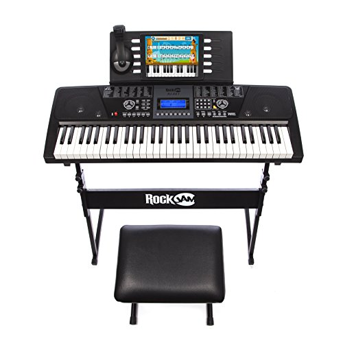 RockJam 561 Electronic 61 Key Digital Piano Keyboard SuperKit with Stand, Stool, Headphones, & Includes Piano Maestro Teaching App with 30 Songs