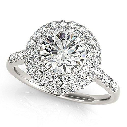 Ladies Double Halo Diamond Engagement Ring w/Side Stones Prong Set 14k White Gold 3.00ct