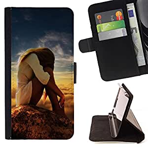 DEVIL CASE - FOR Sony Xperia m55w Z3 Compact Mini - cool nature sweet pretty girl woman sky model - Style PU Leather Case Wallet Flip Stand Flap Closure Cover
