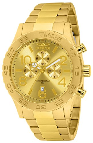 Invicta Men's 1270 Specialty Chronograph 18k Gold Ion-Plated Stainless Steel Watch (Invicta 50 Millimeters)