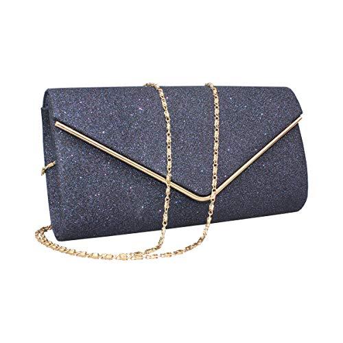 GESU Womens Shining Envelope Clutch Purses Glitter Evening Bag Handbags For Wedding and Party. (Blue)