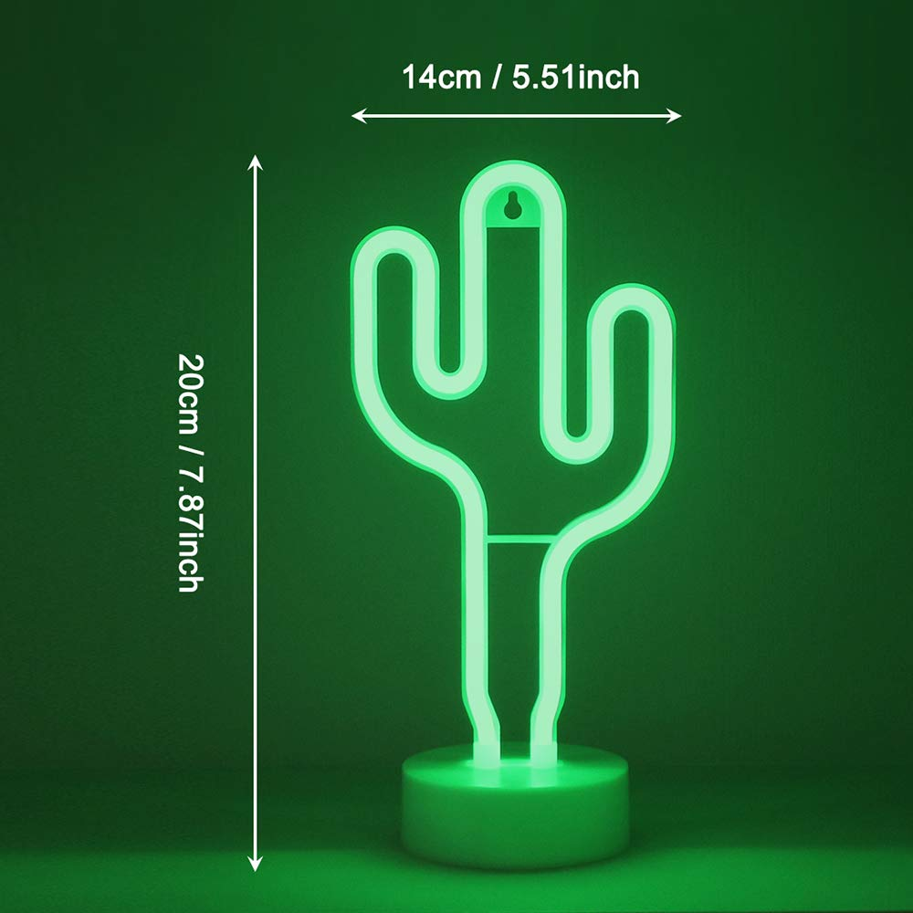 GUOCHENG Green Shine Cactus LED Neon Sign Pedsteal Neon Night Light LED Indoor Decor Night Table Lamps Neon Mood Lighting Marquee Sign for Wedding Birthday Party Bedroom Decor