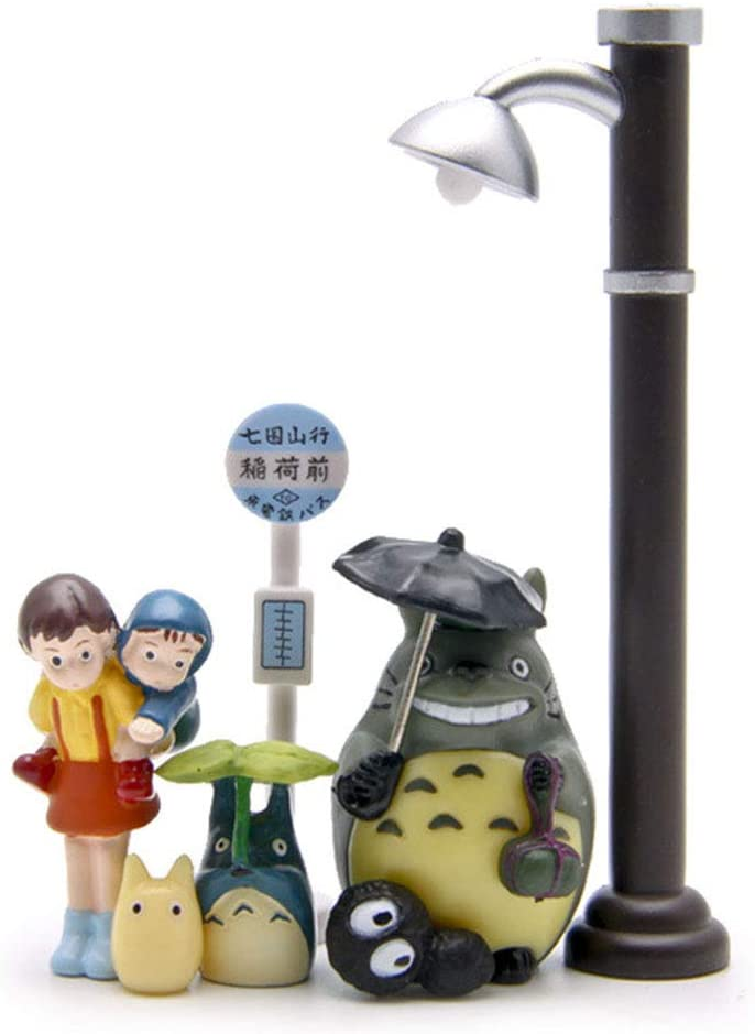 7 Pack Cute Bus Station Scene Figurines, Miniature Home Fairy Garden Figurines - Micro Landscape Ornament Decorations – Rainy Bus Station Scene for Crafts and Home Decor