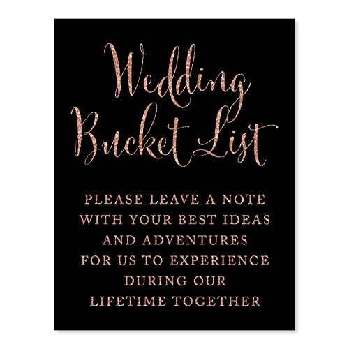 Andaz Press Wedding Party Signs, Faux Rose Gold Glitter on Black, 8.5x11-inch, Wedding Bucket List, Please Leave a Note with Your Best Ideas and Adventures for Us to Experience Together, 1-Pack