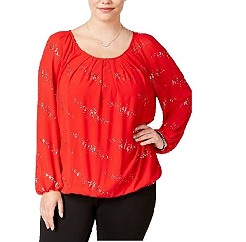 NY Collection Womens Plus Embellished Long Sleeves Pullover Top Red 2X (Falls Church Top Red)