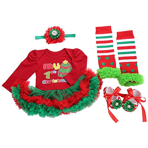 Fubin The First Years Christmas Baby Dresses 18 Month Girl Clothes Shoes Headband leg warmers 12M 18M
