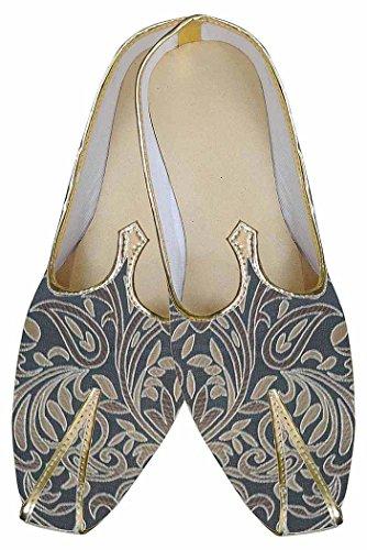 Inmonarch Mens Brocade Gris Indien Chaussures De Mariage Concepteur Mj0182