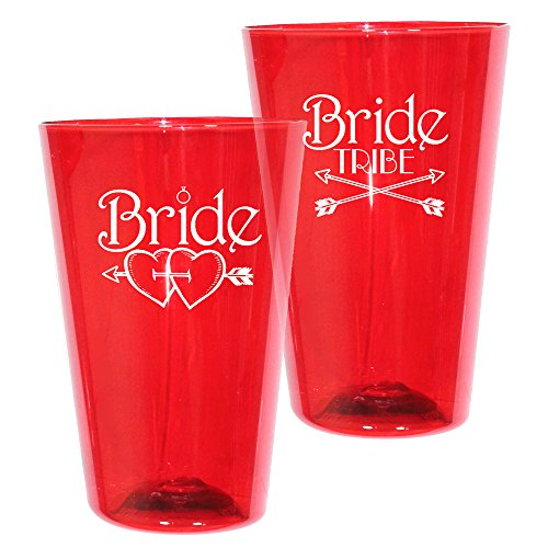 16oz Plastic Pint Glass - Bride Tribe Print for Bachelorettes - Shatterproof Tumbler, Set of 12, Translucent Red ()