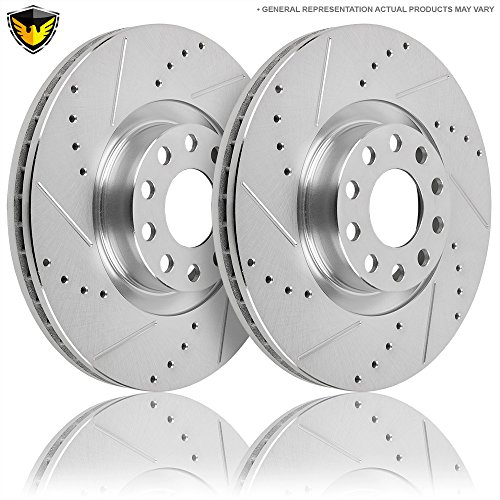 Drilled Slotted Front Brake Rotors For Audi A8 2000 2001 2002 2003 - Duralo 152-2250 New ()
