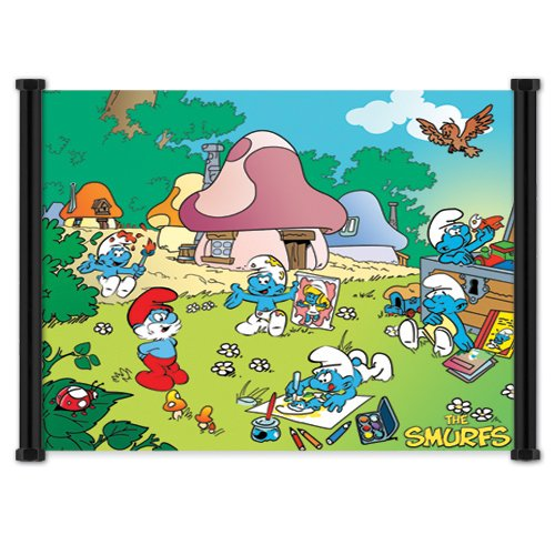 The Smurfs Cartoon: Fabric Wall Scroll Poster