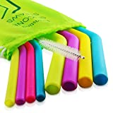 Evalasting Reusable Silicone Straws for Hot or Cold Beverages- FDA Approved Food Grade Silicone, BPA Free - Contains: 4 Thin + 4 Large Long Straw Fits 30 oz Tumbler + Cleaning Brush + Travel Pouch