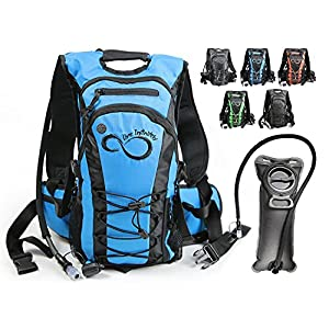 Hydration Backpack With 2.0L TPU Leak Proof Water Bladder- 600D Polyester -Adjustable Padded Shoulder, Chest & Waist Straps- Silicon Bite Tip & Shut Off Valve- (Blue)