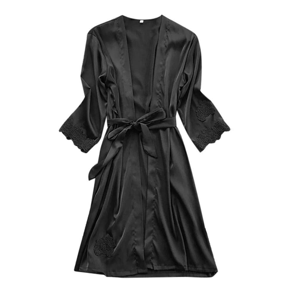 Sleepwear Set Plus Size for Women Lady Lingerie Silk Lace Robe Dress Babydoll Nightdress Kimono Set Yamally