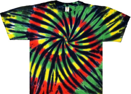 - Tie Dyed Shop Stained Glass Rasta Spiral Tie Dye T Shirt Short Sleeve 5X