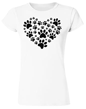 f67cd1977 Cute Heart Made of Animal Paws Women's T-Shirt at Amazon Women's ...