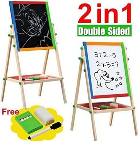 RP New Double Sided Black and White Wooden Easel Drawing Board Children Kids Chalkboard Set with Dry Erase Painting Artist Art Deluxe Standing 2 in 1 Flip-Over Reversible Adjustable - Folding Horse Stable Wood