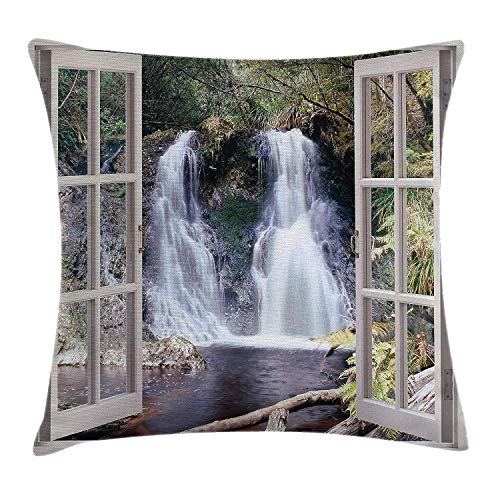 (YABABY Waterfall Throw Pillow Cushion Cover, Little Waterfall Nestled in The National Park Panoramic Fresh Environment River, Decorative Square Accent Pillow Case, 18 X 18 Inches, Brown)