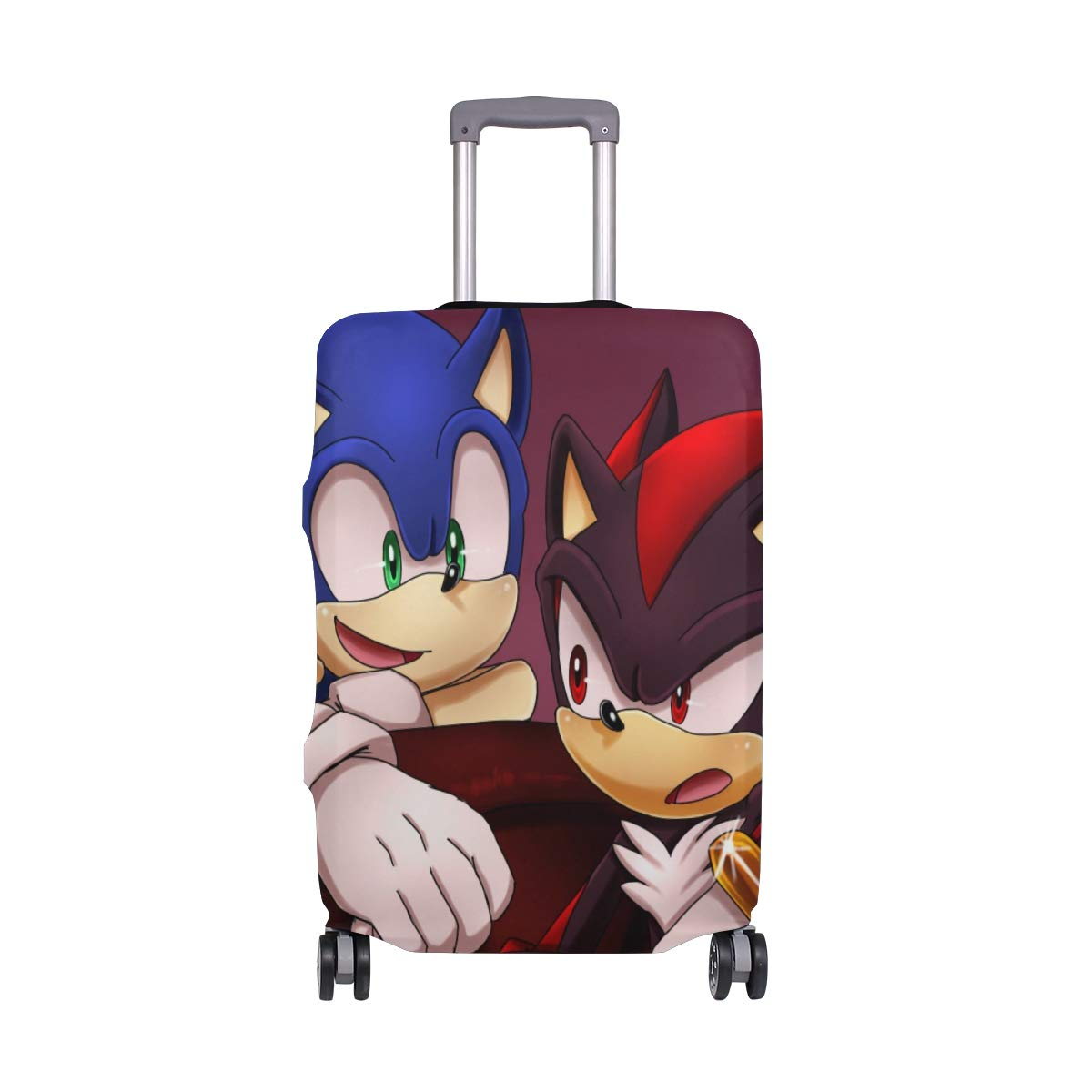 Sonic And Chip Cartoon Travel Luggage Cover Suitcase Protector Fits 26-28 Inch Washable Baggage Covers