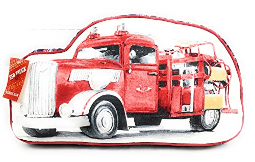 Red Truck Classic Kid's Collection Cotton Decorative Firetruck Pillow Red White Navy Black Plaid Edges