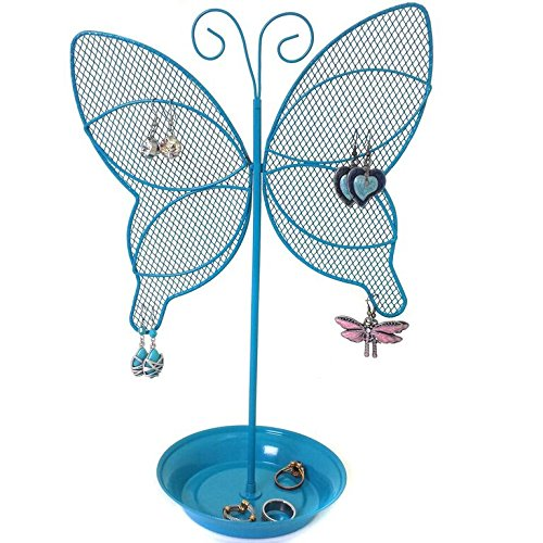 Cute Butterfly Jewelry Organizer – Turquoise Earring Jewelry Stand – Dresser Top Jewelry Organizer for Teens – Earring Holder by Bucasi