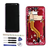 Draxlgon LCD Display Touch Screen Digitizer Assembly With Frame For HT C U11 U 11 U-3w U-1w 5.5'' (Solar Red)