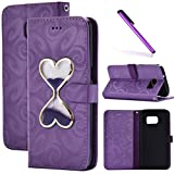 Galaxy S7 Edge Case,LEECOCO 3D Bling Glitter Flowing Quicksand Wallet Cover Business Card Holder PU Leather Kickstand Wallet Protective Case for Samsung Galaxy S7 Edge Hourglass Purple