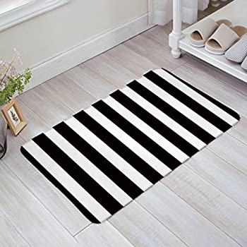 Amazon Com Black And White Stripes Fabric Door Mat Rug