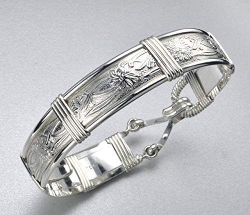 Handmade Sterling Silver Iris Flower Patterned Wire Wrapped Bracelet - Size Medium 7 1/4 Inches - Made In Alaska