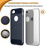 For iPhone 7 Case iPhone 8 Case Leseeing Apple 7 Case Apple 8 Case for iPhone 7 Blue Case and iPhone 7/ iPhone 8 TPU Case with Carbon Fiber iPhone 7 Protective Case - Black