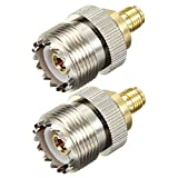 BlueBeach Pack of 2 Adapter Connector Converter SMA Female (No Pin) to UHF PL-259 SO-239 Female for Antenna Plug Coaxial Coax