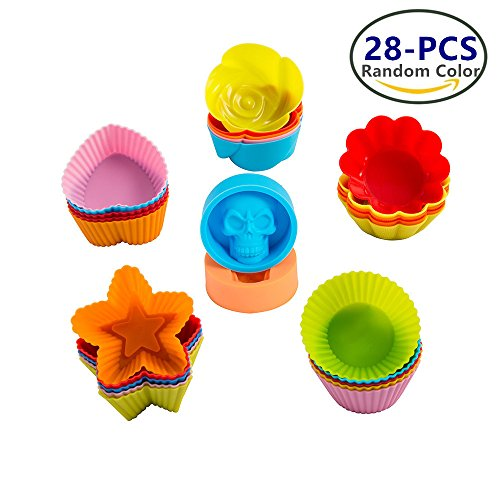 LJDJ Silicone Baking Cups - set of 28 Eco Friendly Reusable Cupcake Molds Muffin Liners Cups for Baking