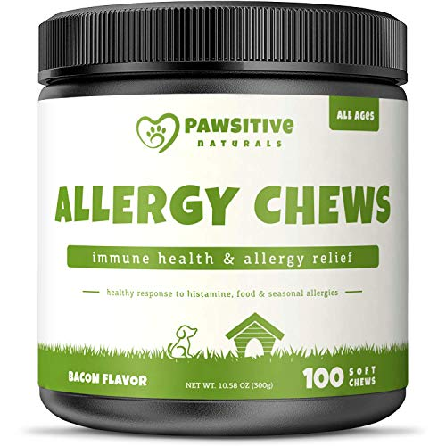 Allergy Immune Supplement for Dogs - 100 Soft Chews - Omega 3 Salmon Fish Oil, Colostrum, Digestive Prebiotics & Probiotics for Seasonal Allergies, Immunity, Anti Itch & Skin Hot Spots