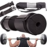 Premium HERO Barbell Squat Pad Set:Ergonomic Safety Barbell Pad + 2 Quick Release Straps + eBook + Bag   Bar Pads Cushion Support for Body Exercising that Fit All Bars Sizes  Titanium Peak