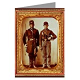 Single Vintage Greeting Card of Union Soldiers with Sword and Saxhorn From the Civil War
