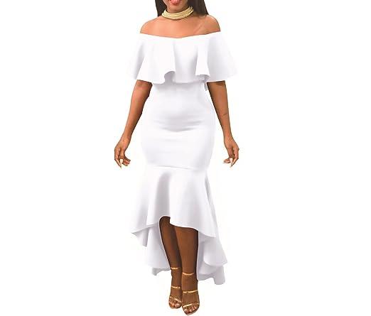 Review Women' Sexy Off Shoulder Ruffle Party Mermaid Elegant Midi Long Dress